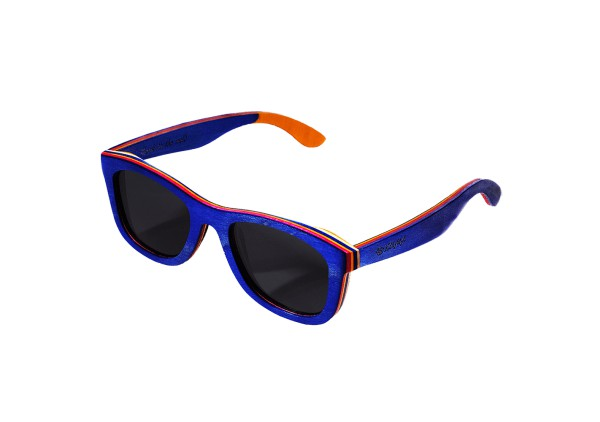 """Wayfarer"" Blue Dyed Maple Sunglasses"
