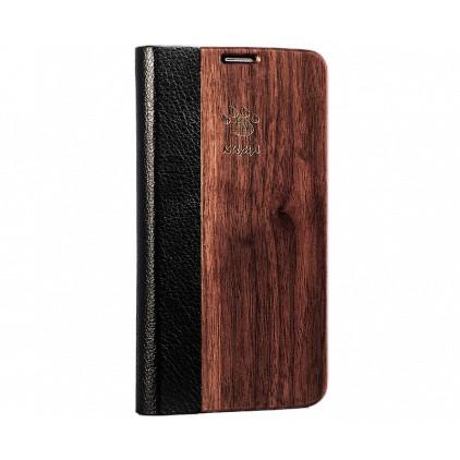 """Flip"" Coque Bois Noyer Galaxy S6 Edge"