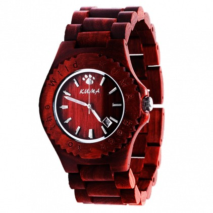 """Jungle"" Montre Bois de Santal Rouge"