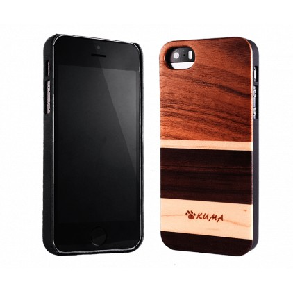 """Mix"" Coque Bois Noyer & Erable iPhone 5/5S/SE"